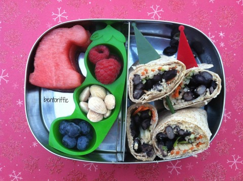 Black bean wrap & elf hat in LunchBots