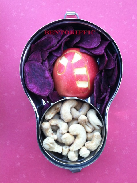 Candy cane apple snack bento by bentoriffic