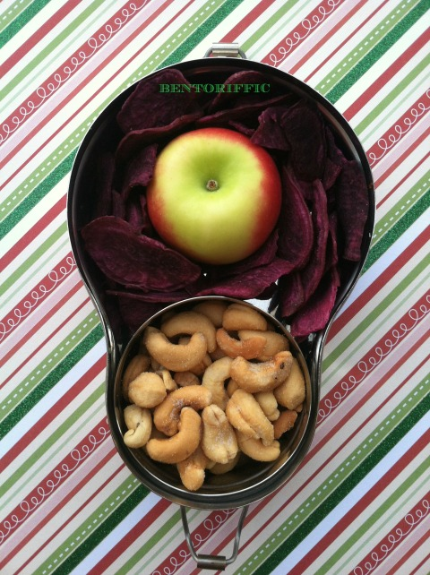 Cashews, apple and purple chip snack bento by bentoriffic