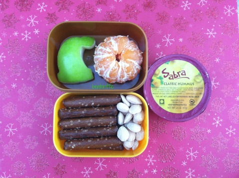 Elf apple hat, hummus & pretzel bento by bentoriffic