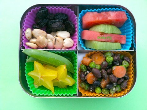quinoa, black beans, peas & carrots