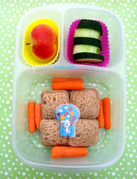 Small square pocket sandwiches with carrots