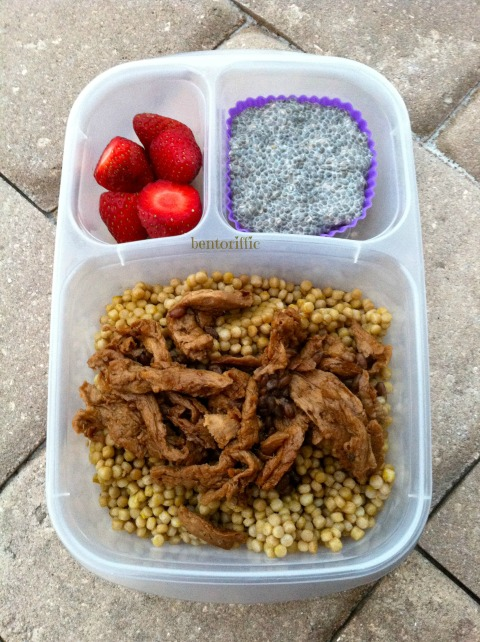 Soy curls couscous and chia bento